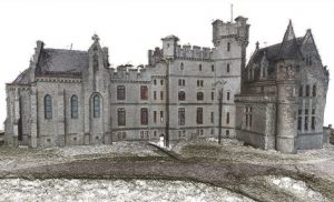 Colourised dense point cloud model of Addadia Castle